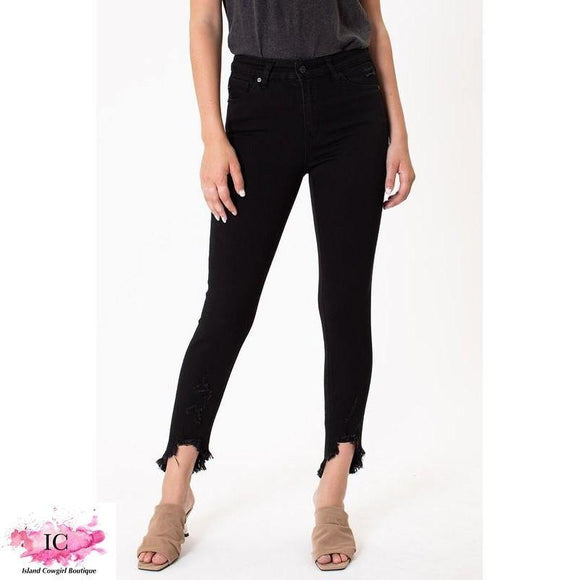 Just Black Frayed Skinny Jeans - Island Cowgirl Boutique
