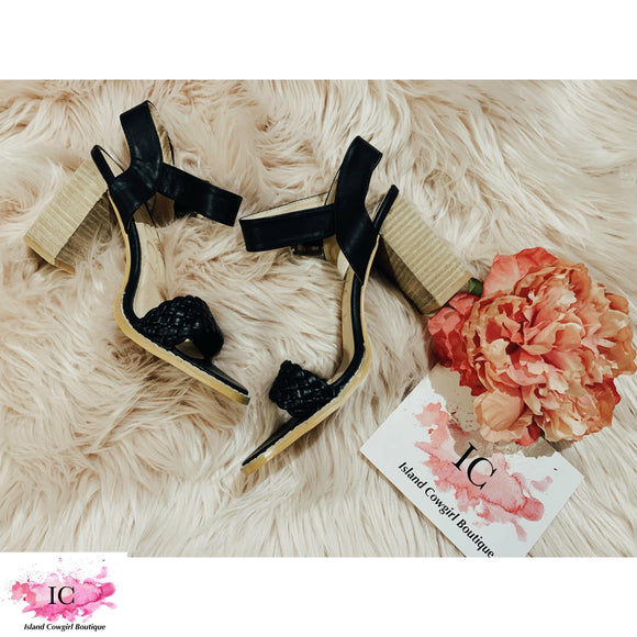 Take A Stand Black Wedge Sandals