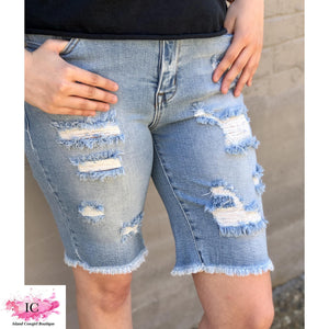 Distressed Bermuda Shorts - Island Cowgirl Boutique