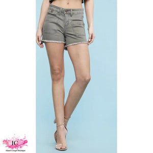 Olive Denim Shorts