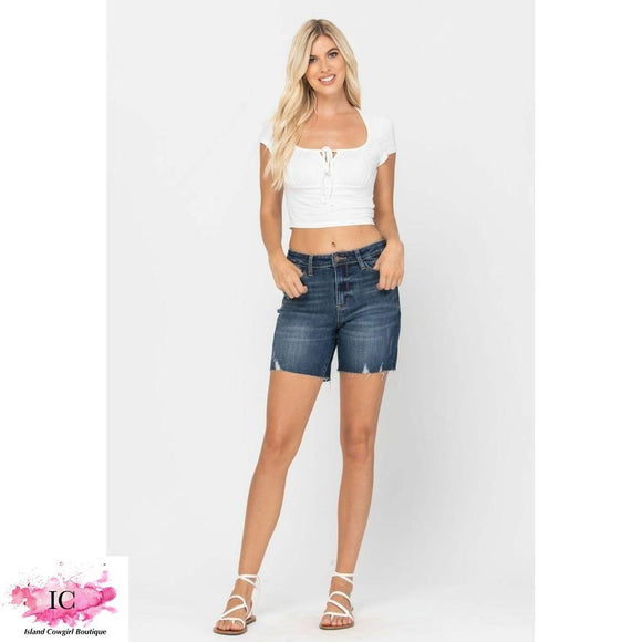 High Rise Mid Thigh Denim Shorts