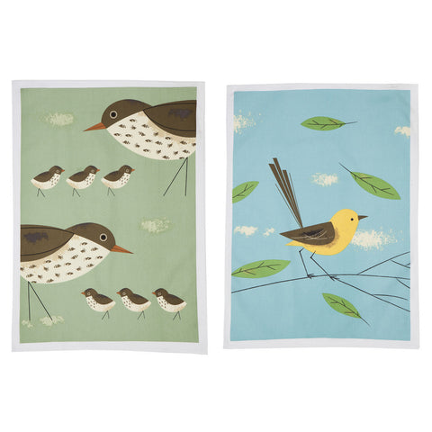 Magpie - Birdy 'Set Of 2' Tea Towels