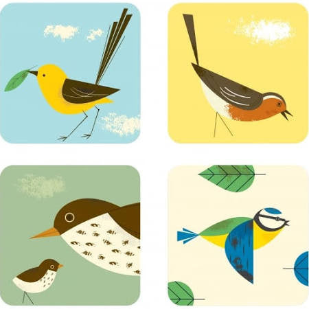 Magpie - Birdy 'Set Of 4' Coasters