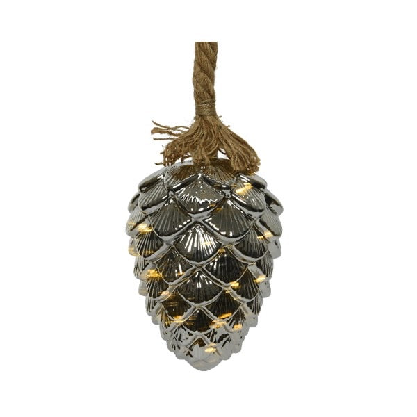 Lumineo Micro LED Glass Pinecone On Rope