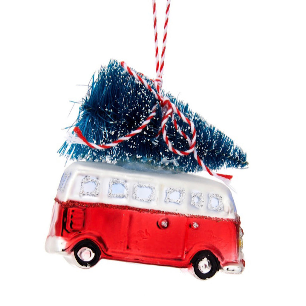 Camper Van with Tree Glass Bauble