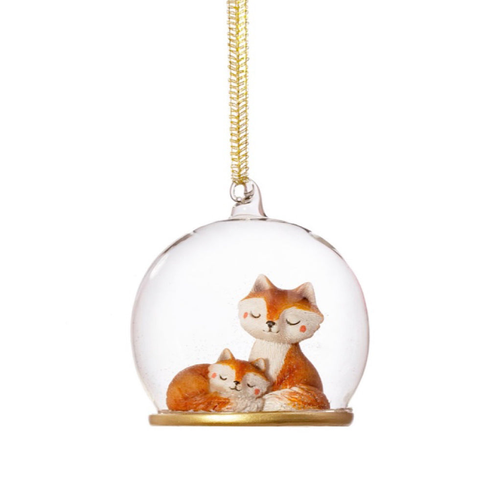 Mum and Baby Fox Dome Glass Bauble