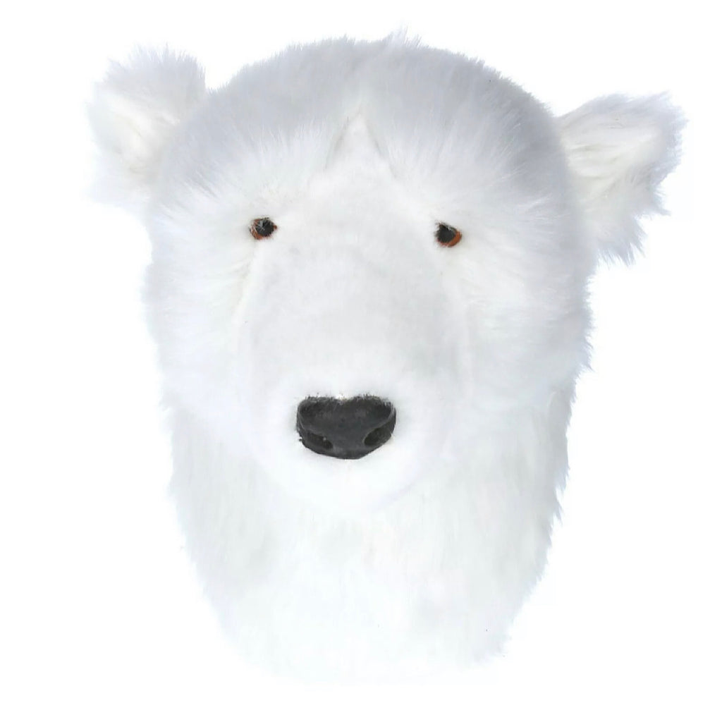Faux Fur Polar Bear Head Plaque