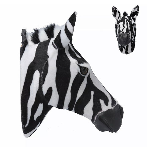 Faux Fur Zebra Head Plaque