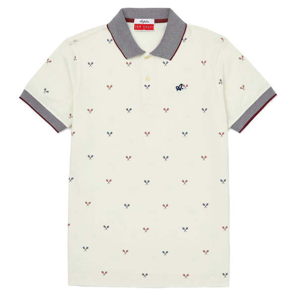 Red Court Polo Shirt With Tennis Racket Print