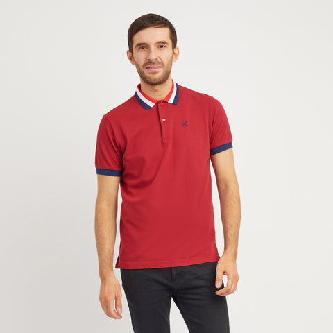 Red Court Polo Shirt With Striped Collar And Cuff