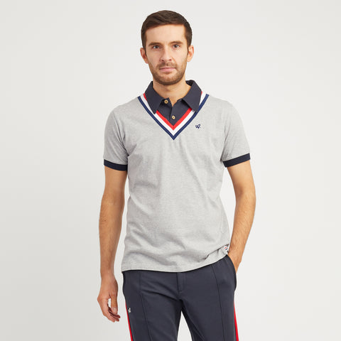 Red Court Jersey Polo 'v' Inset