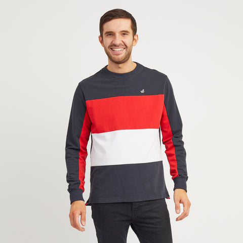 Red Court Sweatshirt With Wide Stripes