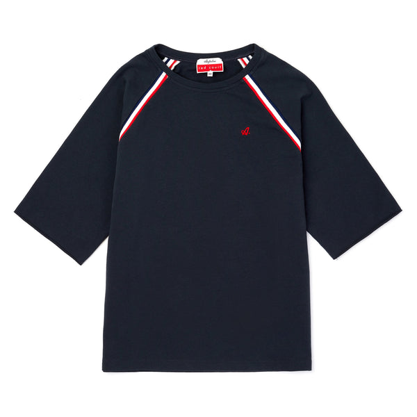 Red Court Raglan Jersey Sweatshirt With Short Sleeves