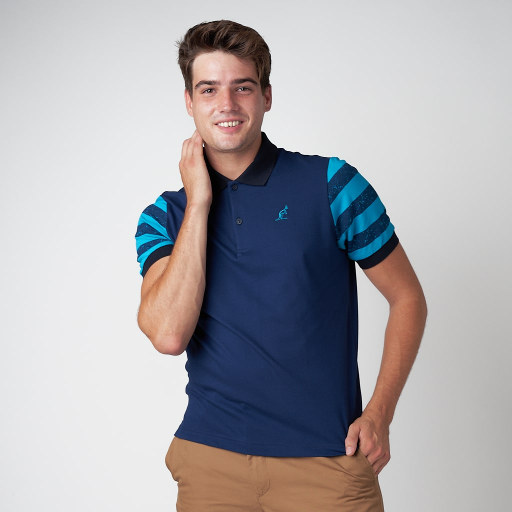 Men's Pique Polo Shirt With Stripe Sleeve