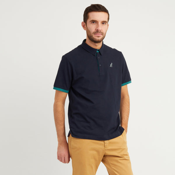 Cotton Pique Polo With Polka Dot Trim