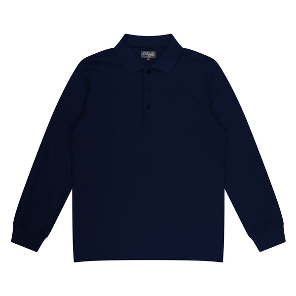 Mens Cotton Long Sleeve Polo with Kangaroo Logo