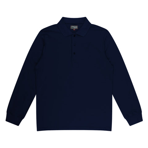 Mens Made In Italy Long Sleeve Stretch Cotton Pique Polo