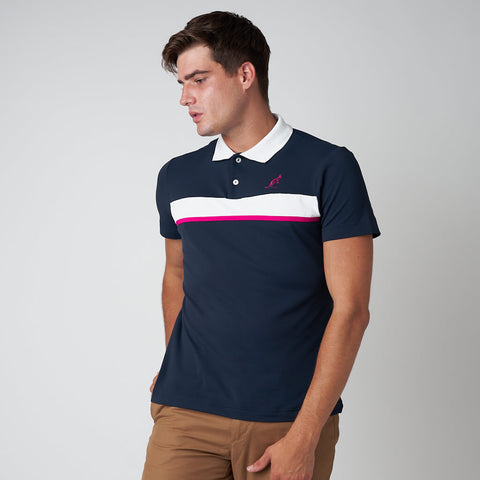 Men's Pique Polo With Stripe Panel