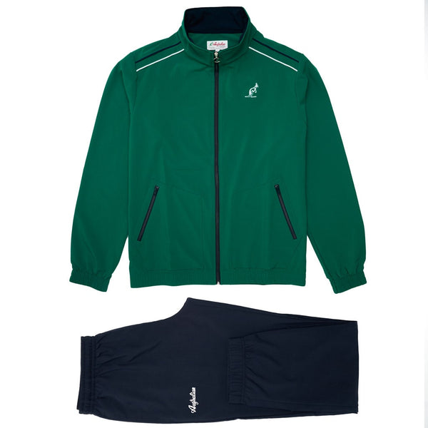 Men's Green Sport Tracksuit With Shoulder Stripes | Australian L'Alpina Sportswear