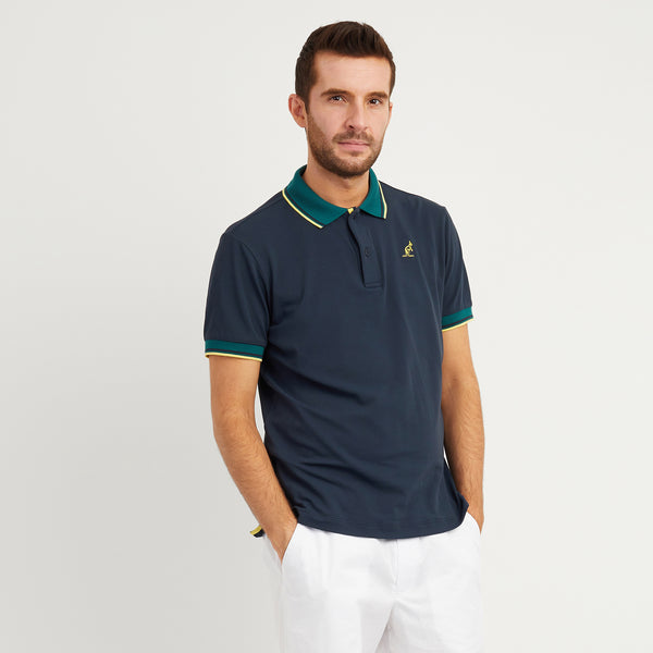 Mens Contrast Collar Technical Sports Polo