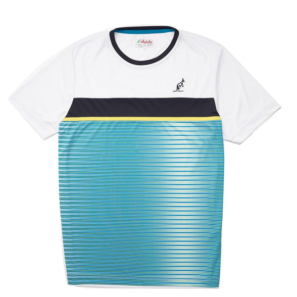 Men's Blue White Stripe Sports T-Shirt | Australian L'Alpina