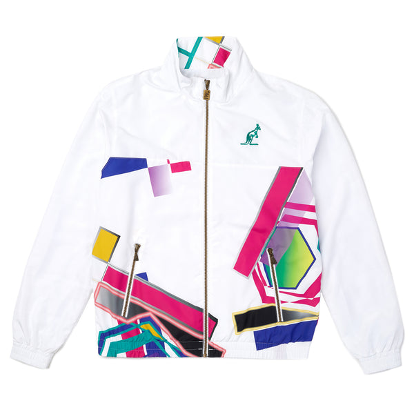 Unisex 90s Style Track Jacket With Half Body Prism Graphic Pattern