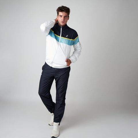 Men's Striped Sports Tracksuit White Black | Australian L'Alpina