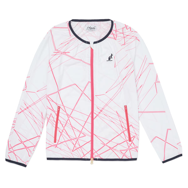 Womens Zip Thru Crew Neck Graphic Jacket
