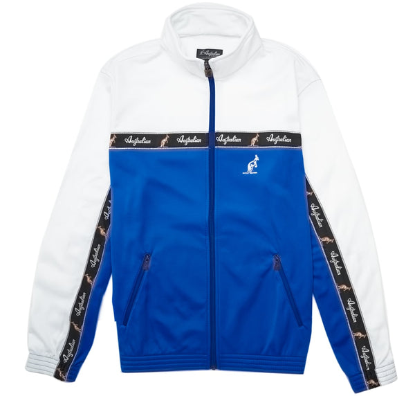 Classic Taped Track Jacket | White Blue | Australian L'Alpina Streetwear