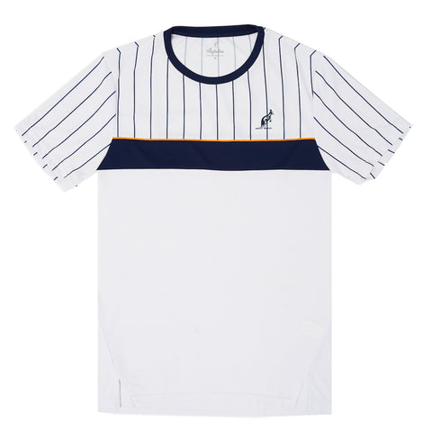 Technical Pinstripe White T-Shirt Sport Tennis Australian L'Alpina