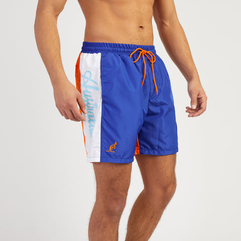 Mens Swim Shorts Royal Blue Designer Swimwear by Australian L'Alpina