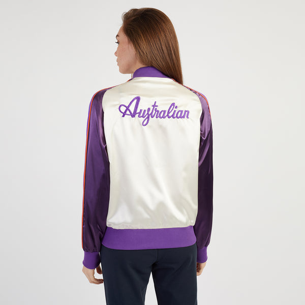 SATIN BOMBER WITH GLITTER LOGO