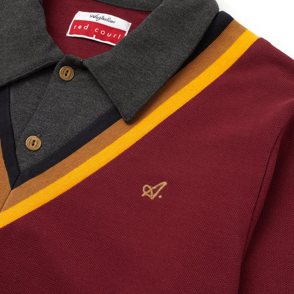 Red Court Long Sleeve Polo Shirt