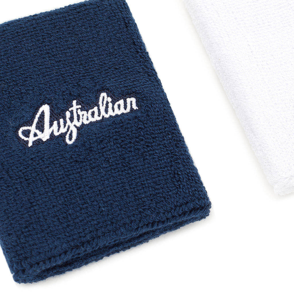 Sweat Wristband Set Blue And White Terry Cloth Sweatbands Australian L'Alpina
