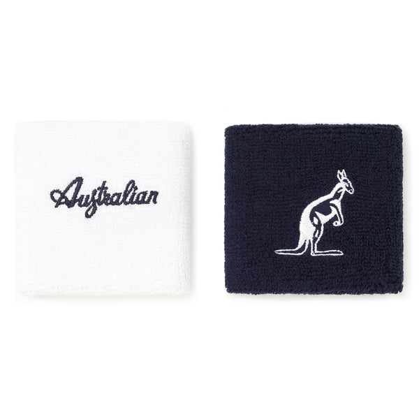 Wrist sweatbands for gym and tennis navy blue white terry cloth material