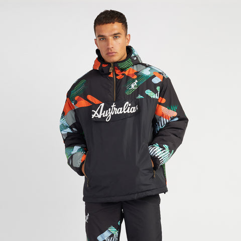 Hard Court Quilted Anorak with Abstract Print