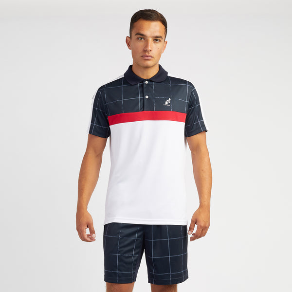 Mens Polo Checked Technical Sports Top