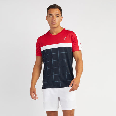 Mens V-neck Checked Technical Sports Top