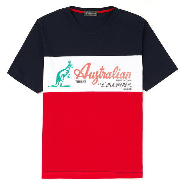 Mens 3 Panel Crew Neck T-shirt with Australian Print