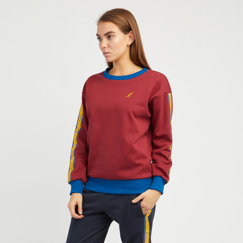 Womens Crewneck Sweatshirt with Vintage Taped Sleeves