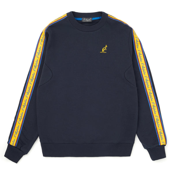 Mens Crewneck Sweatshirt with Vintage Taped Sleeves