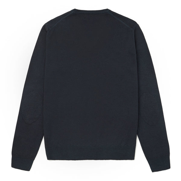 Mens Knitted V-Neck Jumper with Elbow patches