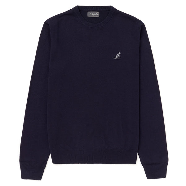 Mens Knitted Crew Neck Jumper with Elbow Patches