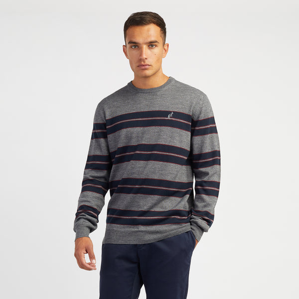 Mens knitted crew neck stripe jumper