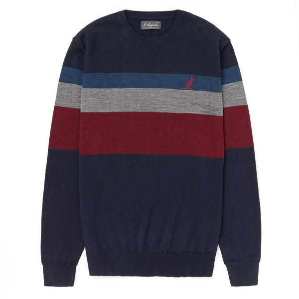 Mens Knitted Striped and Panelled Crew Neck