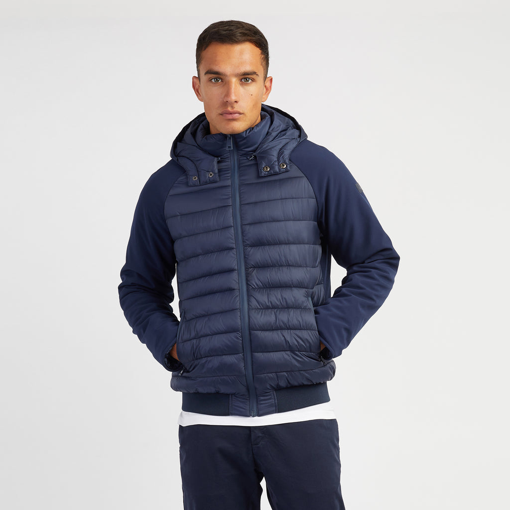 Men's Softshell Padded Jacket with Detachable Hood