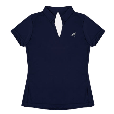 womens polo top with open back design navy blue
