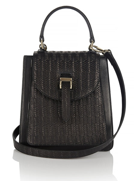 Floriana Mini Cross Body Bag Black Woven