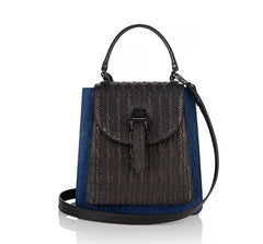 Floriana Mini Handbag Denim and Black Woven