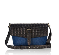 Maisie Bag Denim and Black Woven
